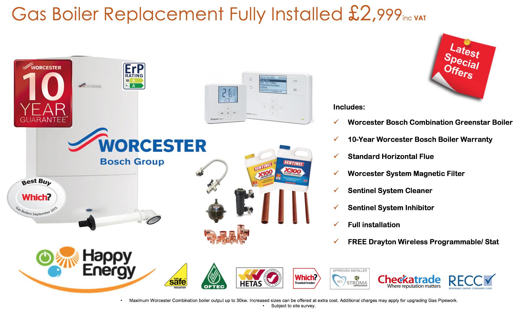 Happy Energy Worcester Bosch Kessel ab nur £ 1,999 * von Happy Energy