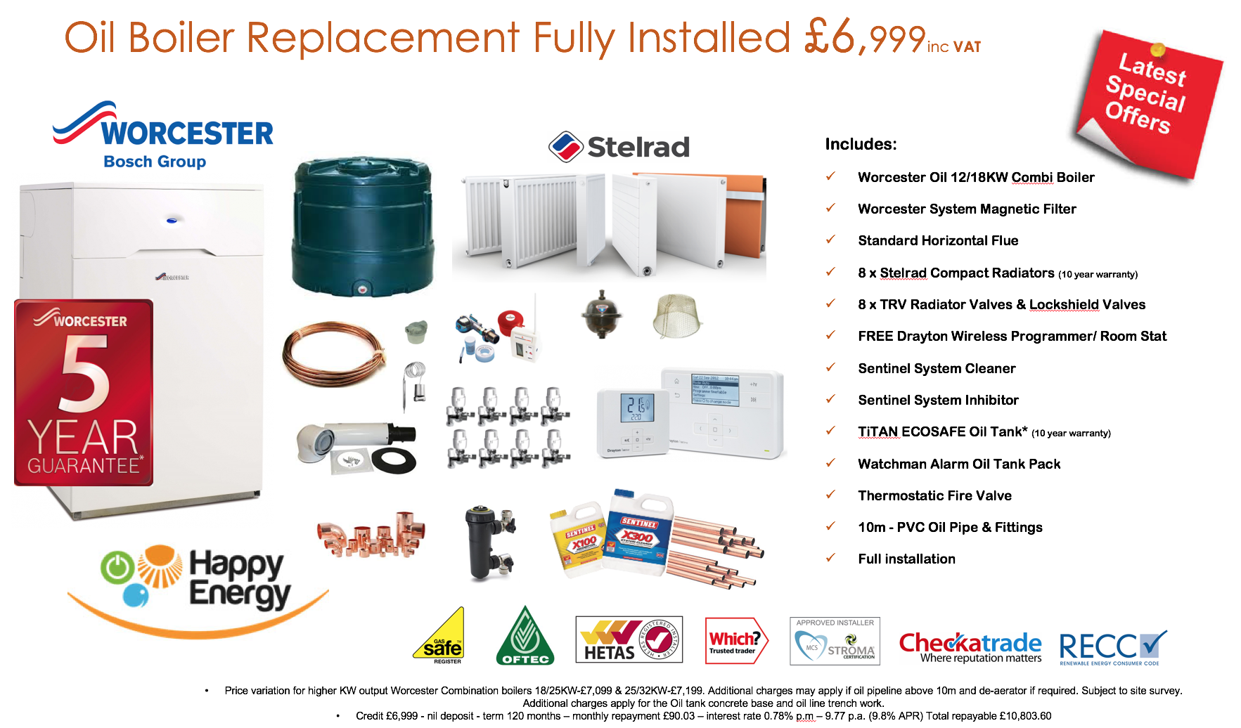 Happy Energy Complete Home Oil Central Heating System - £90 p.m.*