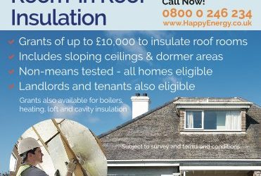 Free room in roof insulation available from Happy Energy*